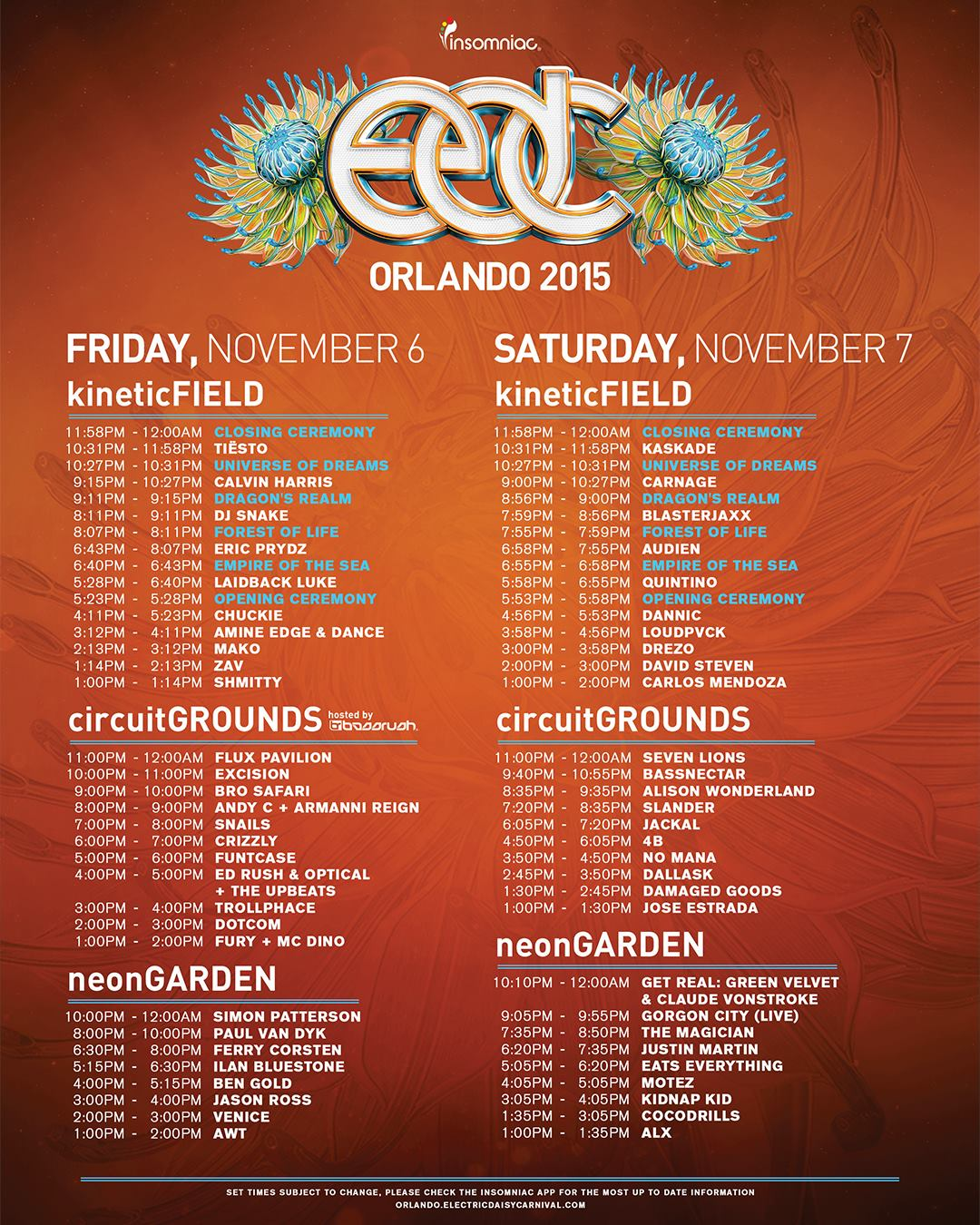 EDC Orlando Releases Set Times - Noiseporn