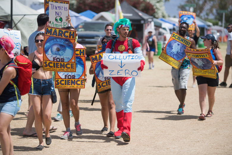 Thomas Quattlebaum, 32, of Shiprock, New Mexico, came dressed as Captain Planet for the Coachella version of the national March for Science during the second day of the second weekend of the Coachella Valley Music and Arts Festival at the Empire Polo Club in Indio, CA on Saturday, April  22, 2017. (Photo by Kevin Sullivan, Orange County Register/SCNG)
