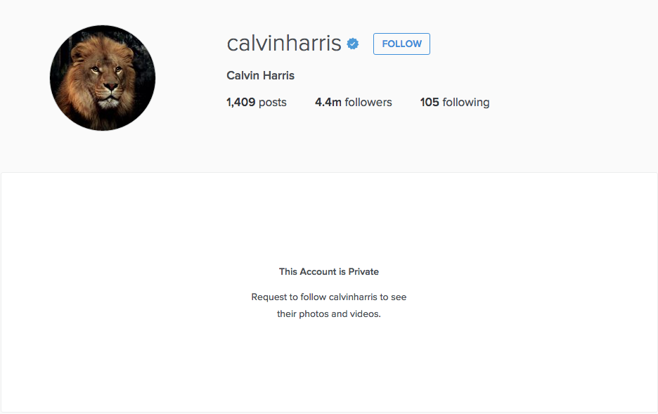 calvin harris instagram private