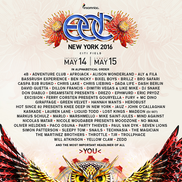 electric daisy carnival new york lineup