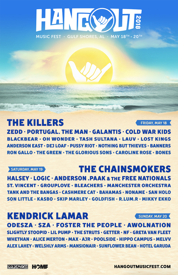 Hangout Music Fest Announces 2018 Lineup ft. Kendrick Lamar, The Killers, & The Chainsmokers